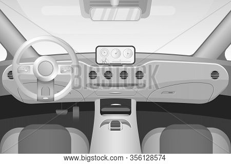 Realistic Black And White Car Interior With Dashboard Windshield Vector Illustration
