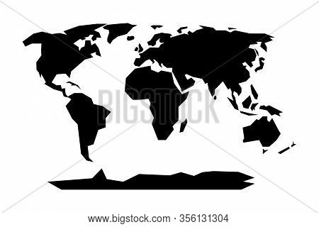 World Map Isolated Geometric Silhouette. Abstract Vector Earth Map. Minimalistic Continents.  Infogr