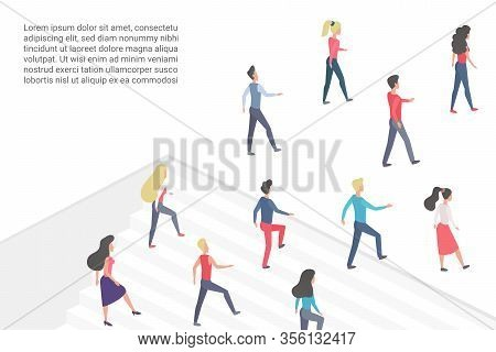 Flat Vector Illustration Minimalistic Concept With People Walking Upstairs And Going Forward, Move I