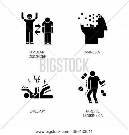 Mental Disorder Glyph Icons Set. Manic And Depressive Episodes. Bipolar Disorder. Amnesia. Memory Lo