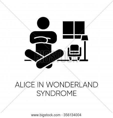 Alice In Wonderland Syndrome Glyph Icon. Visual Perception. Size Distortion. Dysmetropsia, Disorient