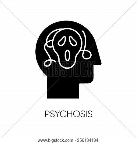 Psychosis Glyph Icon. Paranoid And Scared Person. Confused Mind. Phobia. Schizophrenia. Depression A