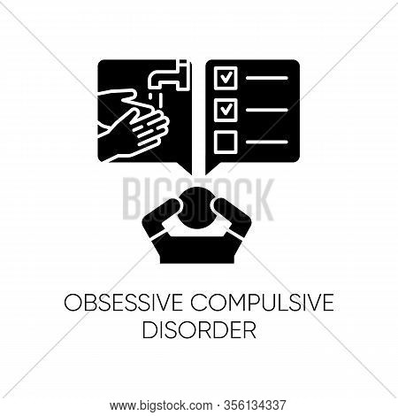 Obsessive-compulsive Disorder Glyph Icon. Disturbed Man. Thinking Under Pressure. Stress, Anxiety. P