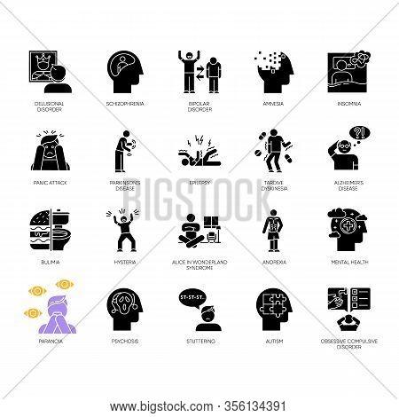 Mental Disorder Glyph Icons Set. Delusions, Schizophrenia. Amnesia, Insomnia. Bulimia, Anorexia. Aut