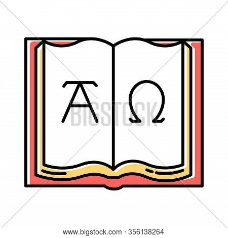 Alpha And Omega Color Icon. Beginning And End. Open Book With Letters Of Greek Alphabet. Book Of Rev