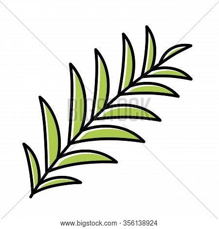 Palm Branch Green Color Icon. Tropical Tree Leafs. Symbol Of Victory And Peace. Happy Easter Sign. S