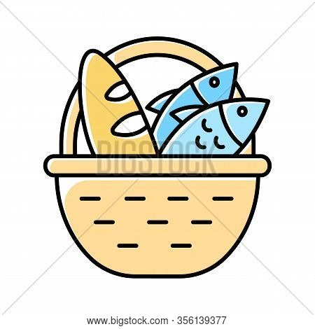 Bread And Fish In Basket Yellow Color Icon. Feeding The Multitude. Holy Week. Miracle Of Christ. Ble