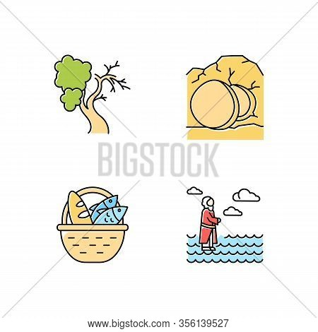 Bible Narratives Color Icons Set. Fig Tree, Open Coffin, Bread And Fish, Jesus Walking On Water. Eas
