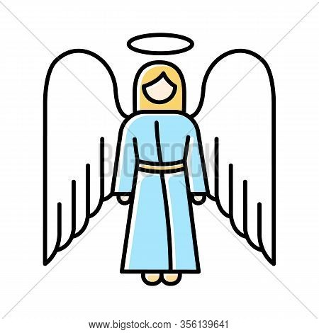 Angel Color Icon. Biblical Archangel. Human Figure In Robe With Wings And Halo. Christmas Holy Angel