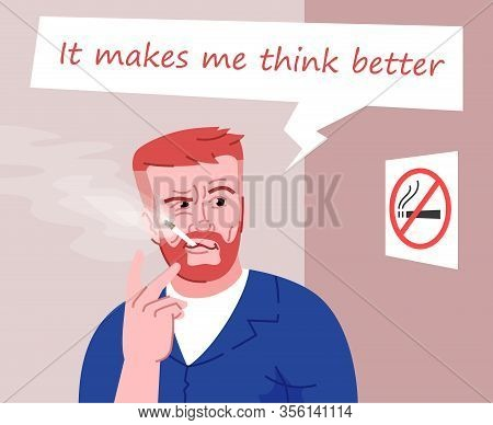 Heavy Smoker Flat Color Vector Illustration. It Makes Me Think Better. Smoking In Public Place. Smok