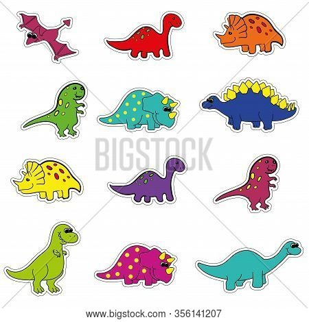 Cute Cartoon Colored Variety Of Dinosaurs Stickers With Outline For Cutting, Vector. Tyrannosaurus,