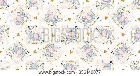 Cute Cat Sleeping Seamless Pattern. Vector Nursery Cartoon Sleep Gray Animals, Cute Baby Pattern Bac