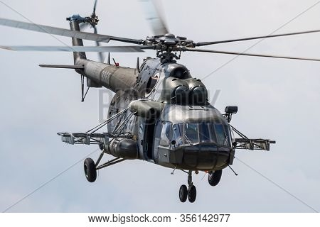 Sliac / Slovakia - August 3, 2019: Czech Air Force Mil Mi-171sh 9868 Transport Helicopter Display At