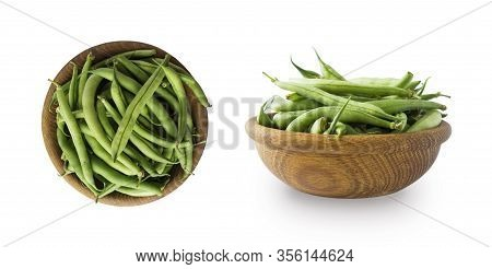 Fresh Green Vegetables Isolated On A White Background. Green Bean In Wooden Bowl. Vegetables With Co
