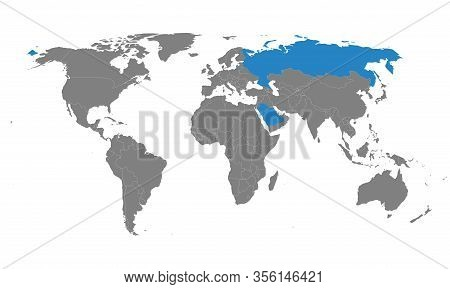 Saudi Arabia, Usa Countries Highlighted On World Map. Gray Background. Perfect For Business Concepts