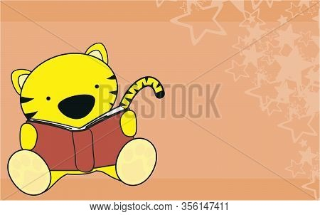 Cute Tiger Baby Cartoon Reading Background In Vector Format