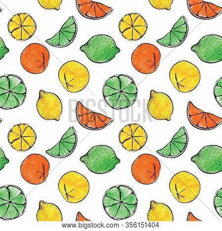 Fresh Colorful Summer Crayon Hand Drawn Citrus Orange Lemon Lime Fruit Candy Gelatine Seamless Patte