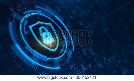 Shield and padlock. Abstract illustration on dark blue. Protect and Security concept. Digital Shield and padlock on abstract technology background. 3d rendering