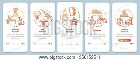 Exhibition And Museum Onboarding Mobile App Page Screen Vector Template. Open-air Exposition. Walkth