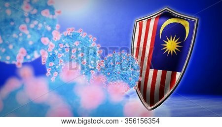 Fight Of The Malaysia With Coronavirus - 3d Render