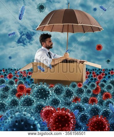 Hopeless Businessman Floats With A Cardboard In A Sea Of Viruses And Bacteria. Concept Of Pandemic