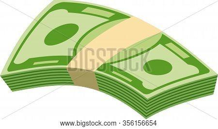 Packs Of Paper Money. Bundle With Cash Bills. Keeping Money In Bank. Deposit, Wealth, Accumulation A