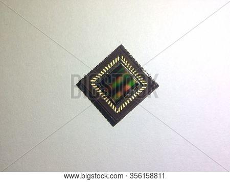 Close Up Of Cmos Sensor Ccd Sensor Camera Sensor Macro Shot On White Background.