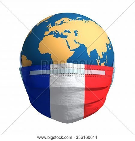 Earth In Medical Mask And Flag Of France On White Background. 3d Illustration.