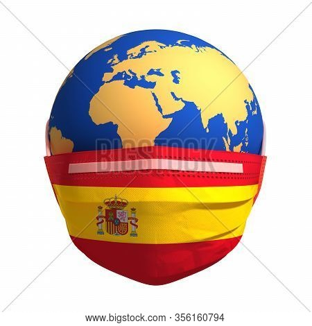 Planet Earth In Medical Mask And Flag Of Spain On White Background. 3d Illustration.