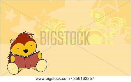 Cute Porcupine Kid Reading Cartoon Kawaii Background