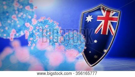 Fight Of The Australia With Coronavirus - 3d Render