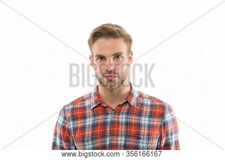 Looking Handsome Naturally. Handsome Man With Unshaven Face Isolated On White. Handsome Look Of Youn