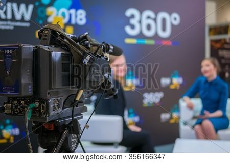 Moscow, Russia - June 05, 2019: Television Video Camera Recording Interview In Broadcast News Studio