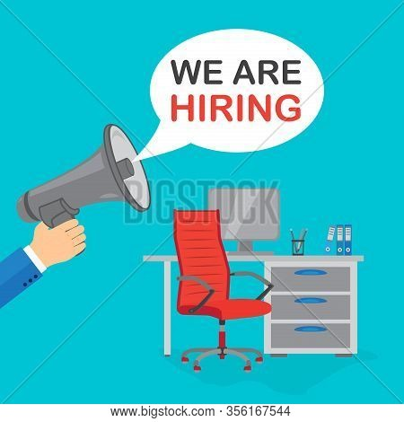 Bubble Speech With Text We Are Hiring. Red Office Chair With Sign Vacant On The Background With Comp