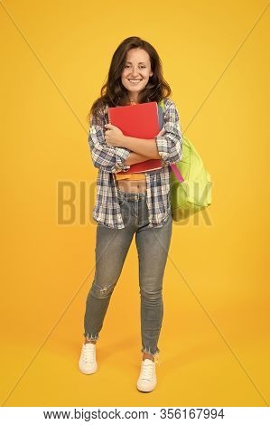 College University Education. Student With Backpack. Regular Student Carry Workbooks. Student Life.