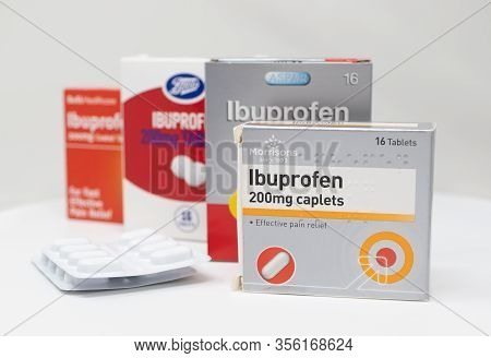 London / Uk - March 17th 2020 - Supermarket Brands Of Ibuprofen Anti-inflammatory Medication Boxes A