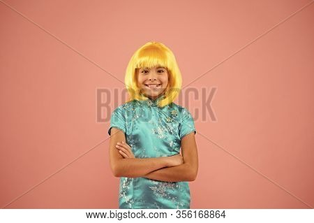 Cosplay Outfit. Otaku Girl Yellow Wig. Cosplay Character Concept. Japanese Style. Eastern Trends For