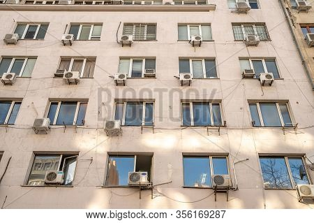 Sofia - February 27, 2020: Prefabricated House In The City On Settlements. Air Conditioning Unit Nex