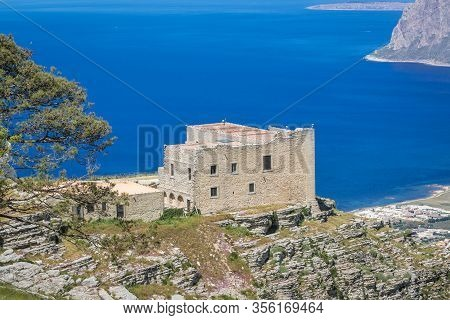 Historic Fortress In So Called Spanish Quarter Of Erice Historic Town On A Mount Erice, Sicily Islan