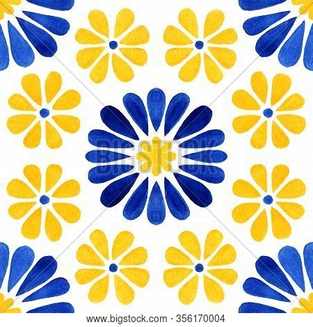 Azulejos Tile. Traditional Watercolour Portuguese Mosaic Tile Decoration. Watercolor Blue And Yellow
