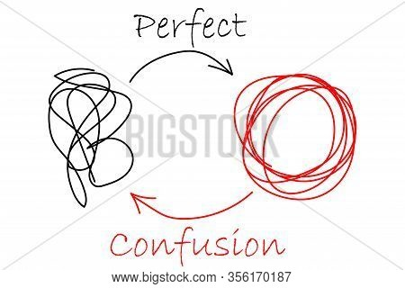 Vector Symbol Of Complicated Way With Scribbled Round Element Or Tangle Ball, Black, Chaos Sign, Wit
