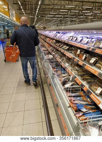 Klimovsk, Russia - March, 8, 2020: image of a supermarket shelves with fish