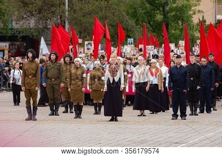 Anapa, Russia - May 9, 2019: Participants In A Staged Theatrical Performance At The May 9 Victory Da