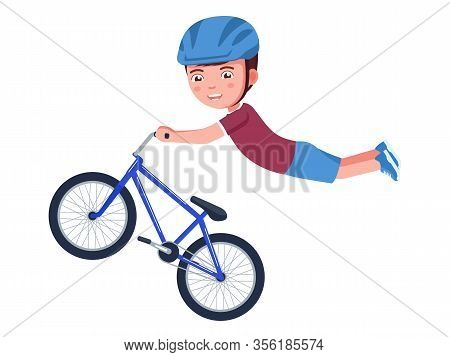Boy Performs A Stunt In The Air On A Bmx Bike. Vector Illustration Cartoon Character Kid On A Bicycl