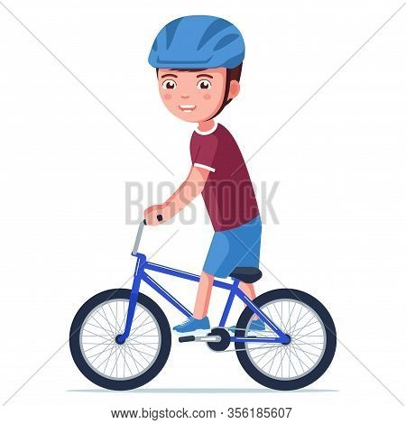 Boy Riding A Bmx Bike. Vector Illustration Cartoon Kid In A Helmet Drives A Small Children Bicycle.