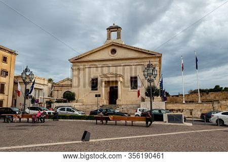 Valletta, Malta - October 29, 2019: The Garrison Chapel Building Of The Malta Stock Exchange (borza)