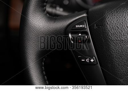 Novosibirsk, Russia - March 07, 2020: Nissan Teana, Car Controller On Steerling Wheel ,music,control
