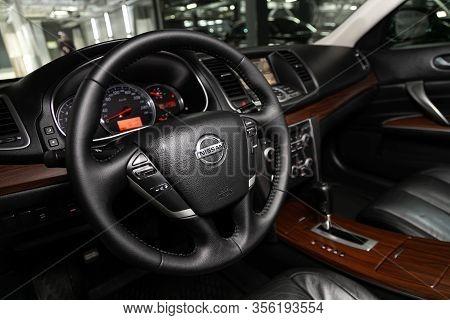 Novosibirsk, Russia - March 07, 2020: Nissan Teana,  Steering Wheel, Shift Lever, Multimedia  System