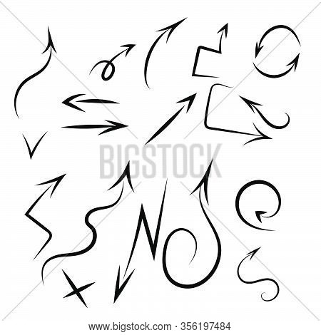 Isolated Vector Hand Drawn Arrows Set On A White Background Eps 10