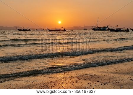 28 Feb 2020, A Sunset View At Khlong Muang Beach In Krabi Province Of Thailand.
